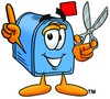 Mail Box Cartoon Character Holding Scissors clipart
