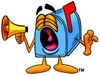 Mail Box Cartoon Character Screaming Into a Megaphone clipart