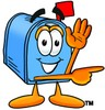 Mail Box Cartoon Character Giving Directions clipart