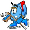 Mail Box Cartoon Character Playing Ice Hockey clipart
