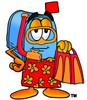 Mail Box Cartoon Character In Red and Orange Snorkel Gear clipart