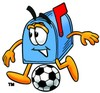 Mail Box Cartoon Character Playing Soccer clipart