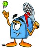 Mail Box Cartoon Character Playing Tennis clipart