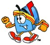 Mail Box Cartoon Character Speed Walking clipart