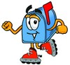 Mail Box Cartoon Character Roller Blading clipart