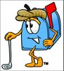 Mail Box Cartoon Character Golfing clipart