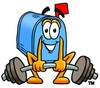 Mail Box Cartoon Character Lifting Weights clipart