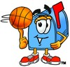 Mail Box Cartoon Character Spinning a Basketball clipart