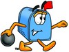 Mail Box Cartoon Character Bowling clipart