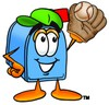 Mail Box Cartoon Character Playing Baseball clipart