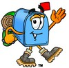 Mail Box Cartoon Character Hiking clipart