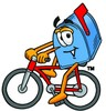 Mail Box Cartoon Character Riding a Bike clipart
