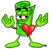 Rolled Money Cartoon Character In Love clipart