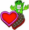Rolled Money Cartoon Character With Valentines Candies clipart