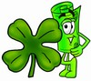 Rolled Money Cartoon Character With a Four Leaf Clover clipart