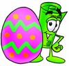 Rolled Money Cartoon Character With an Easter Egg clipart