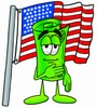 Rolled Money Cartoon Character With an American Flag clipart