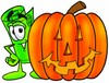 Rolled Money Cartoon Character With a Halloween Pumpkin clipart