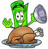 Rolled Money Cartoon Character Serving a Thanksgiving Turkey clipart