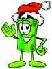 Rolled Money Cartoon Character Wearing a Santa Hat clipart