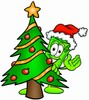 Rolled Money Cartoon Character With a Christmas Tree clipart