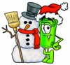 Rolled Money Cartoon Character With a Snowman clipart