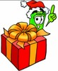 Rolled Money Cartoon Character With a Christmas Gift clipart