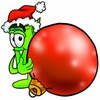 Rolled Money Cartoon Character Holding a Christmas Ornament clipart