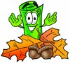 Rolled Money Cartoon Character With Autumn Leaves and Acorns clipart