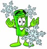 Rolled Money Cartoon Character With Snowflakes clipart
