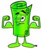 Rolled Money Cartoon Character Flexing His Muscles clipart