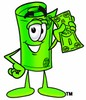 Rolled Money Cartoon Character Holding Cash clipart