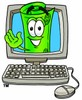 Rolled Money Cartoon Character In a Computer Screen clipart