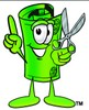 Rolled Money Cartoon Character Holding Scissors clipart