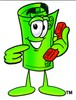 Rolled Money Cartoon Character Holding a Phone clipart
