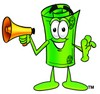Rolled Money Cartoon Character Screaming Into a Megaphone clipart