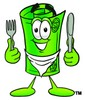 Rolled Money Cartoon Character With Eating Utensils clipart