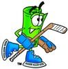 Rolled Money Cartoon Character Playing Ice Hockey clipart