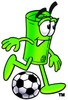 Rolled Money Cartoon Character Playing Soccer clipart