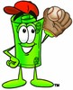 Rolled Money Cartoon Character Playing Baseball clipart