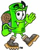 Rolled Money Cartoon Character Hiking clipart