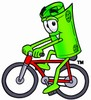 Rolled Money Cartoon Character Riding a Bike clipart