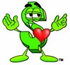 Dollar Sign Cartoon Character In Love clipart