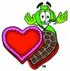Dollar Sign Cartoon Character With Valentines Candies clipart