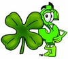 Dollar Sign Cartoon Character With a Four Leaf Clover clipart