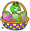 Dollar Sign Cartoon Character With Easter Eggs In a Basket clipart
