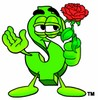 Dollar Sign Cartoon Character Holding a Red Rose clipart