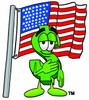 Dollar Sign Cartoon Character With an American Flag clipart