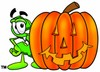 Dollar Sign Cartoon Character With a Halloween Pumpkin clipart