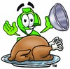 Dollar Sign Cartoon Character Serving a Thanksgiving Turkey clipart